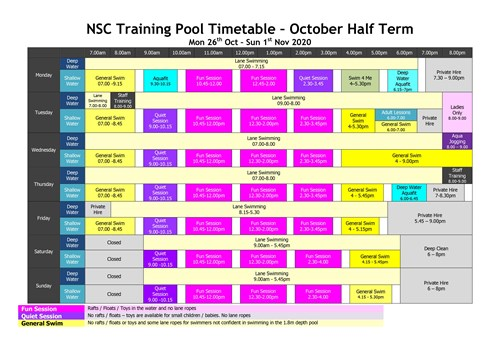 October Timetable Pool